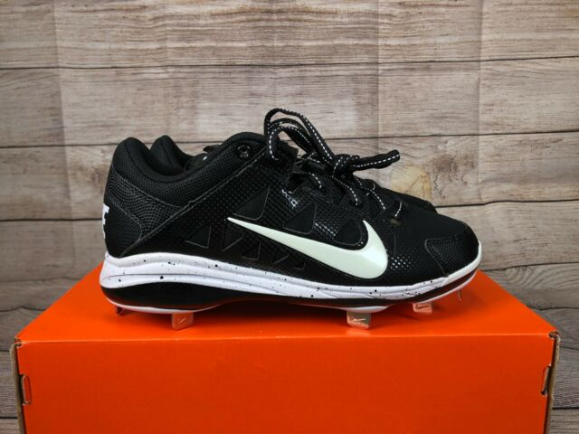 NEW Womens NIKE Air HyperDiamond Pro Metal Spikes Black White Softball  Cleats 625fe2fcb3