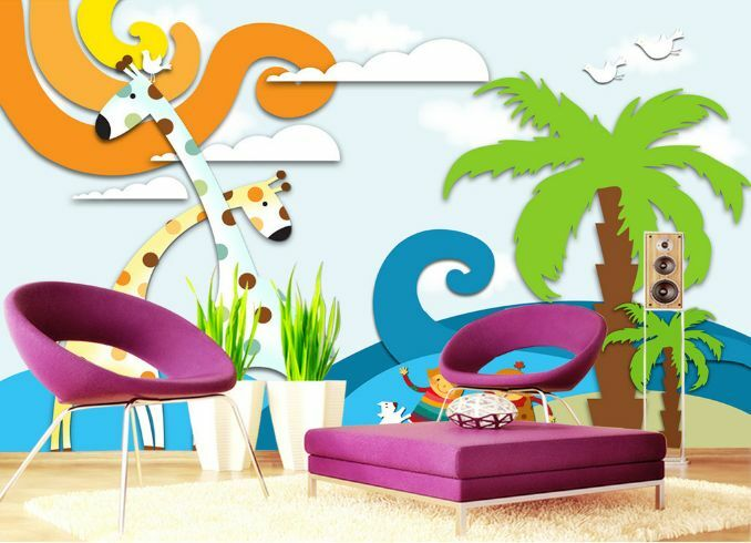 3D Kokosnussbaum , Giraffe  Fototapeten Wandbild Fototapete BildTapete Familie