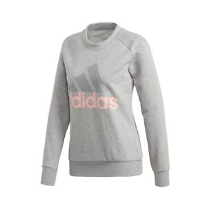 Details zu adidas Pullover Damen ESS Lin Sweatshirt Rundhals Sweater grau Frauen ClimaLite