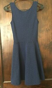 Frenchi-Fit-amp-Flare-Dress-Sz-XS-Stretch-Knit-Black-Blue-Polka-Dot