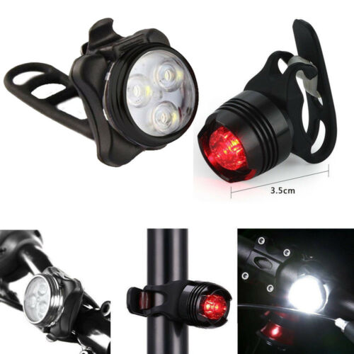 Rechargeable USB Bike Light  LED Bicycle Lamp Set Front Light Tail Light