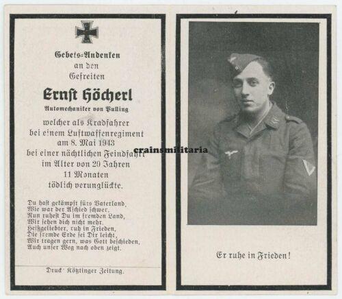 Orig Krad Unfall VARNA Bulgarien 1943 Sterbebild Luftwaffe Kradmelder