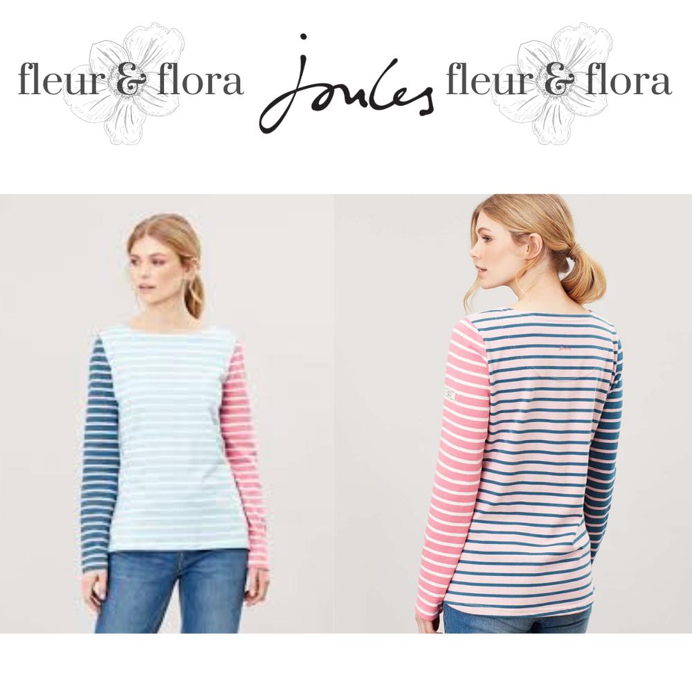 Joules | Femme Harbour à Manches Longues Haut En Jersey | Bleu Crème à Rayures | Rrp £ 24.95