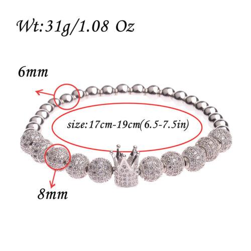 Nouveau Hommes Zircone Cubique luxueux Leopard Crown Crâne Tête Plaqué Or Bracelets