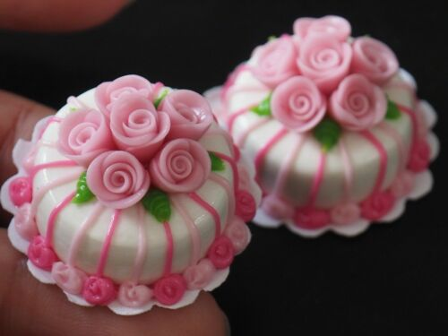 Dollhouse Miniature 2 Pink Rose Cakes Bakery Art Food Sweet Kitchen Déco 20 mm