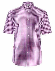 EX-M-amp-S-Marks-And-Spencer-Pure-Cotton-Violet-Gingham-Checked-Shirt