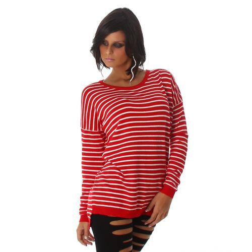 Streifen Pullover Ringel Pulli Sweater Marine Oversize Boxy Look M 36 38 Damen