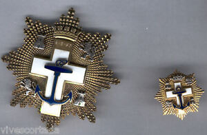 Espana-Medalla-Merito-Naval-orden-Cruz-naval-distintivo-blanco-con-pin-en-oro