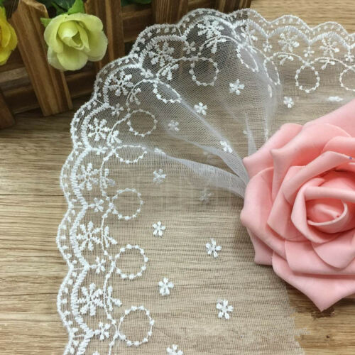 3 Meters White Width 10cm Flower Lace Trim Ribbon Wedding Applique Sewing Craft