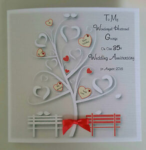 personalised on our 35th coral wedding anniversary card husband wife