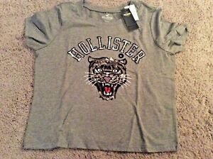 Bnwt New Hollister Graphic Logo Slim Tee Shirt Grey Size M Sequin Panther Ebay