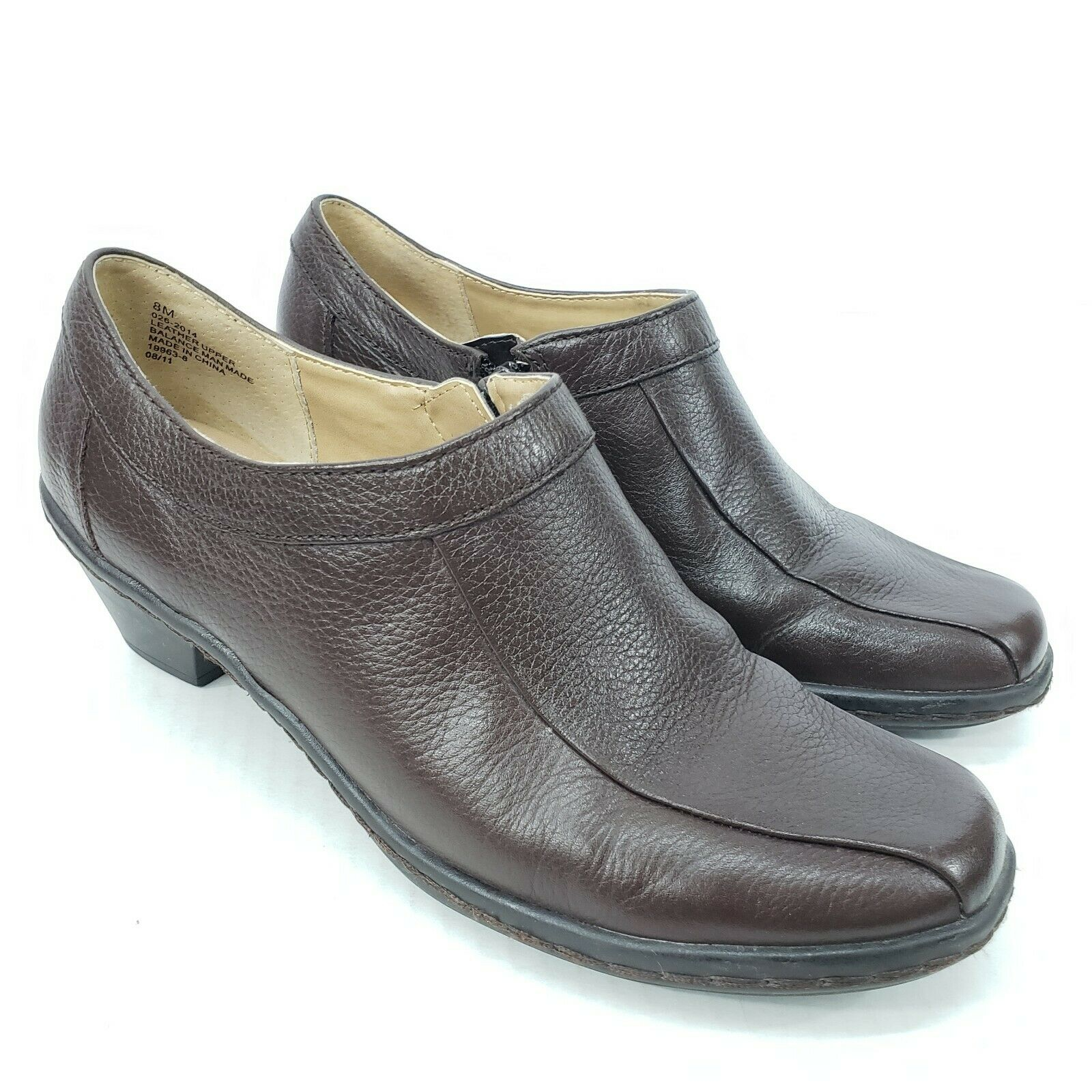 Strictly Comfort Women's Clogs Size 8M Brown Side Zipper Slip On Leather