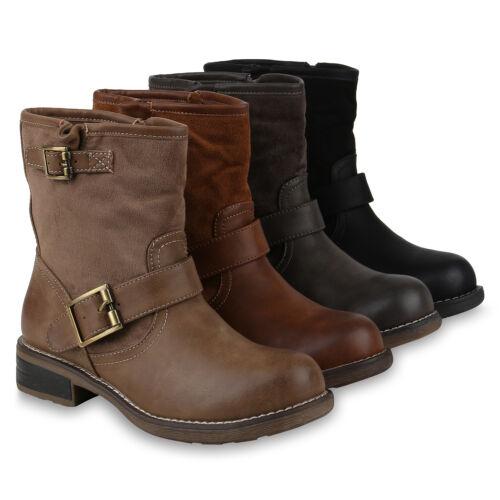 Stiefeletten Schuhe Schnallen Leicht Stiefel Damen Biker Boots 818487 Gefüttert qwxAA8E
