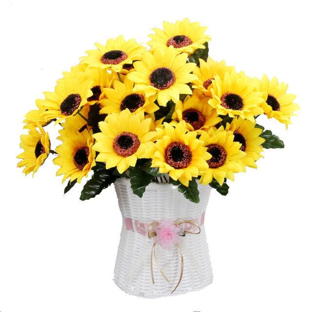 Artificial Fake Sunflower Silk Flower Bouquet Home Wedding Floral Decor Home