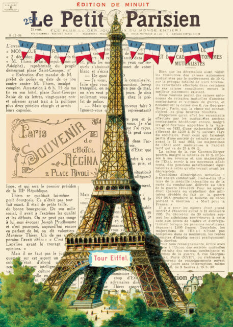 Cavallini Vintage Eiffel Tower Wrapping Paper
