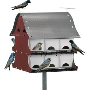 Bird House 16 Family Purple Martin Barn Swing Doors Outdoor Lawn Backyard Feeder
