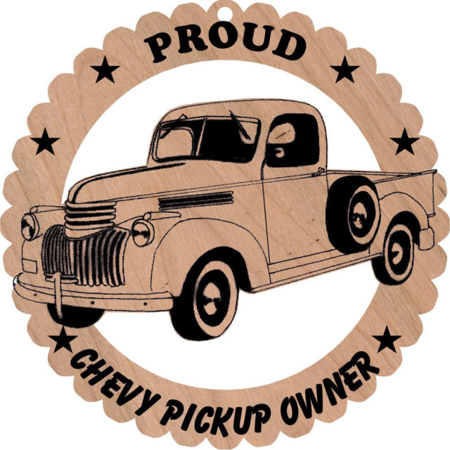 1942 Chevrolet Pickup Wood Ornament Laser Engraved Large 5 3/4 Inches Round
