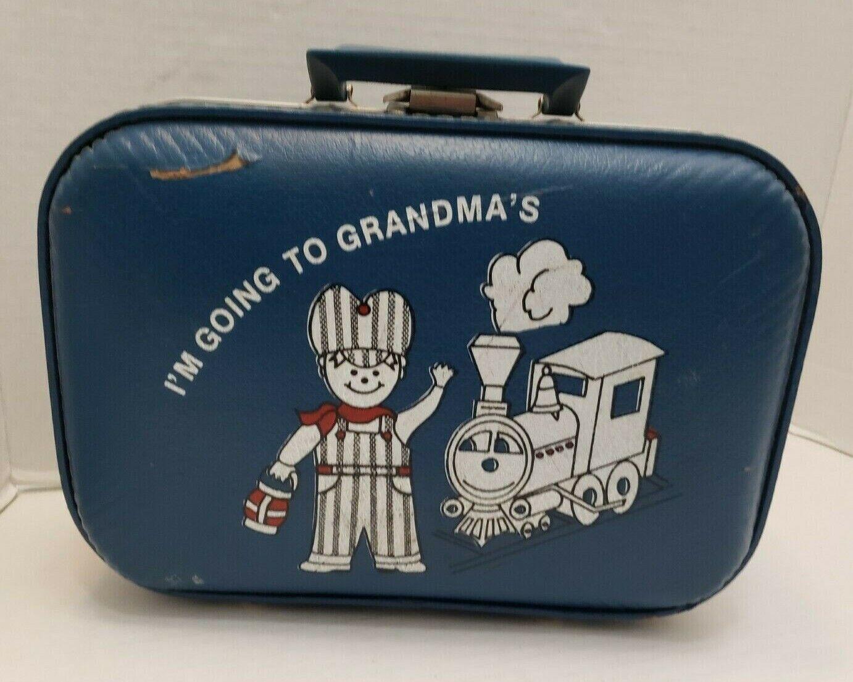 I'm Going to Grandmas Suitcase Bag Storage Decor Prop blu Train Boy Conductor