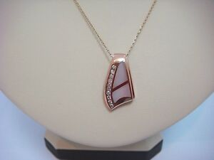 P5166 Statement PC 14KT Solid White-Gold Pink MOP Slide Birthday Mom Wife Valentine Gift Gorgeous Genuine Pink Mother of Pearl Pendant