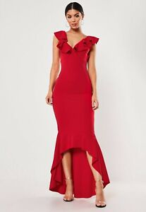 MISSGUIDED-RED-FRILL-STRAP-FISHTAIL-BODYCON-MIDI-DRESS-RRP-28