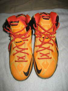 b399bc741f8 Nike LeBron 12 XII Witness Laser Sz 6Y Youth Orange Black GS 685181 ...
