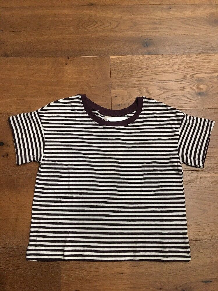 Authentic Madewell Rivet & Thread Oversized Crop Tee in Stripe XS  NWT