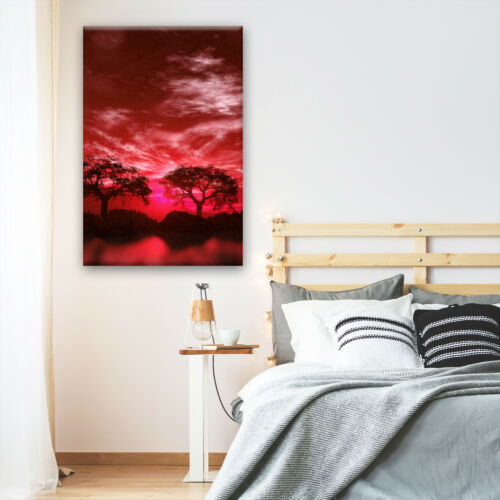 Red Black White Tree Nature Portrait Scenic Canvas Wall Art Large Picture Prints