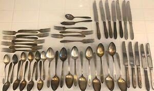 Oneida Antik Gemeinschaft Teller Paradiesvogel Silverplate Bestecke 49 teilig