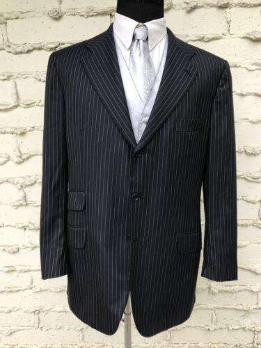 $9450 KITON NAPOLI Sz 53 Dark Blue Stripe 100% Woo