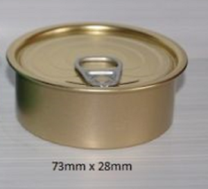 Size No1 73mm dia x 28mm with Black Plastic Lid 1 Sample Can with Ring-pull Lid