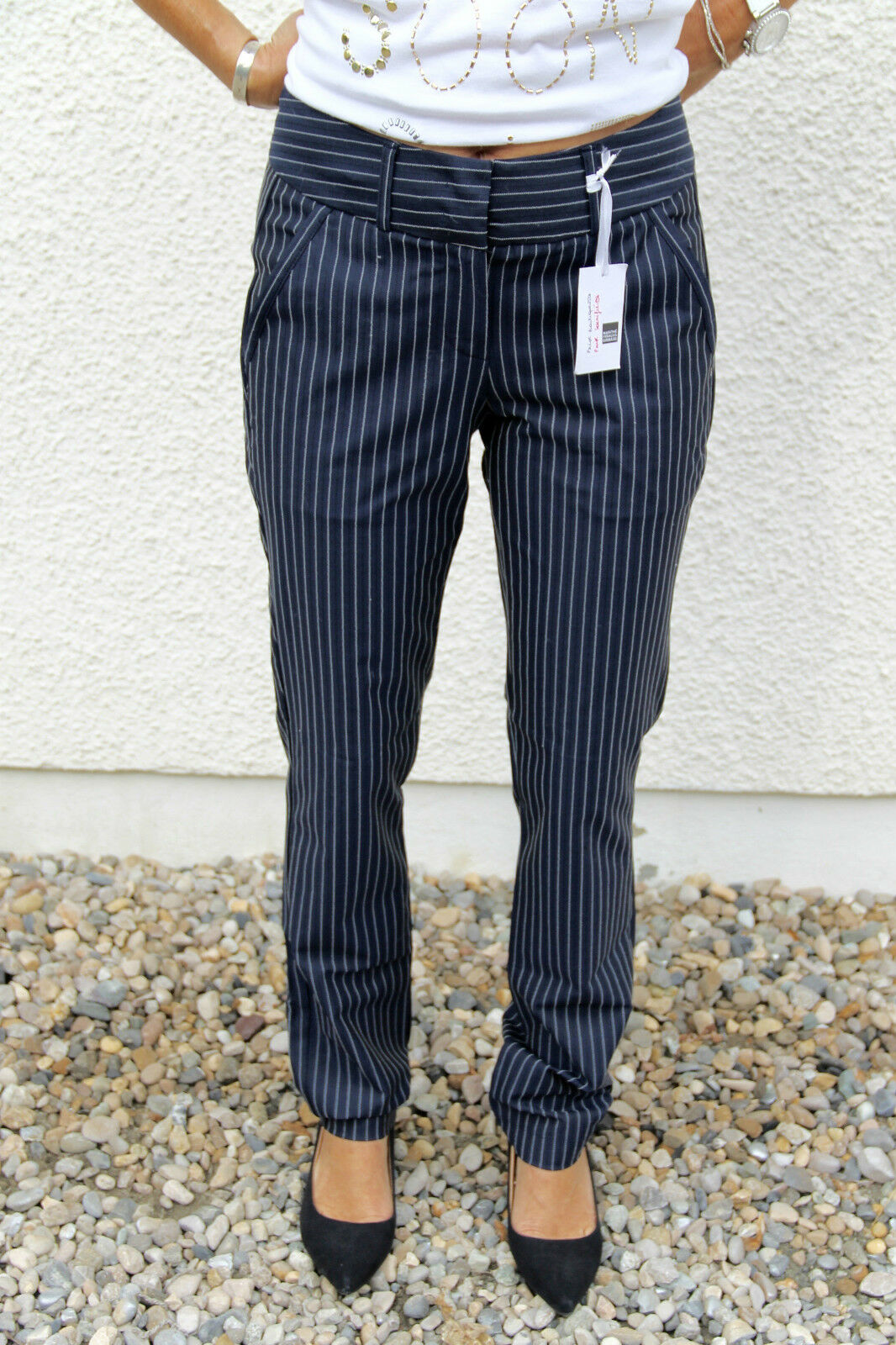 Trousers carred striped M & F GIRBAUD bayonet T 31 40-42 NEW price boutique