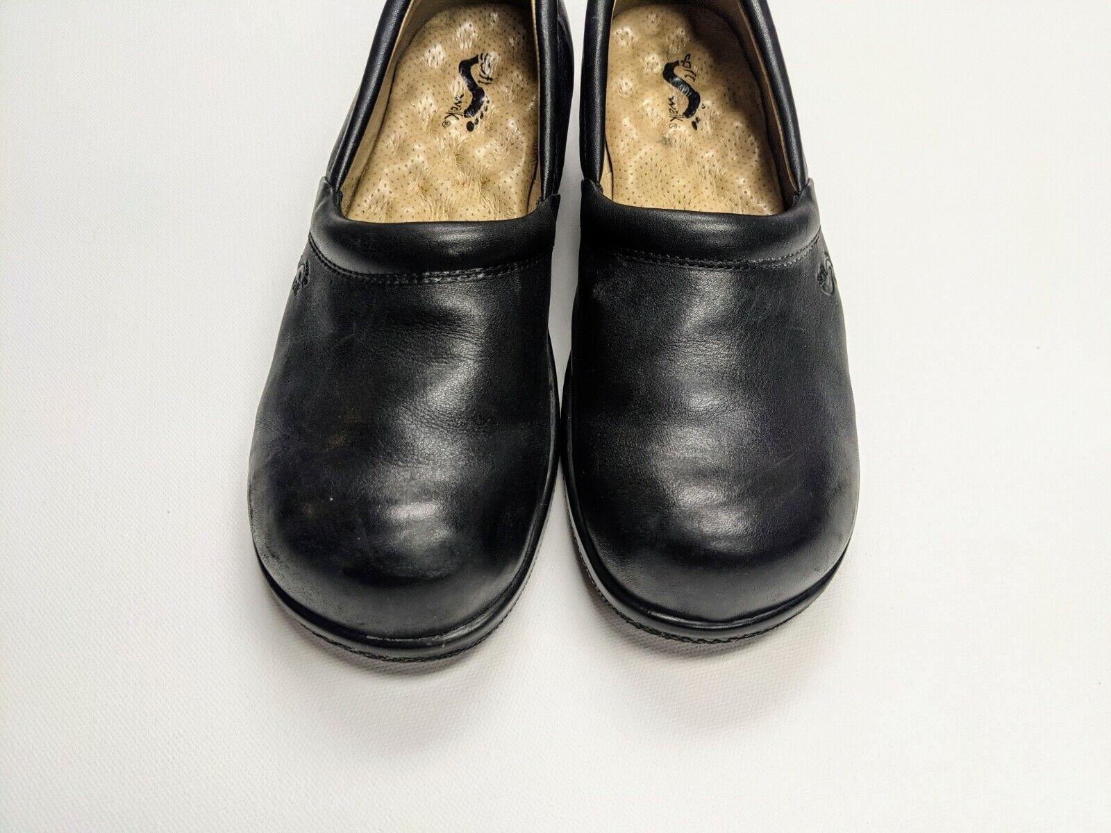 Softwalk Adora Leather Clog Shoes Slip On Shoes Black 9N