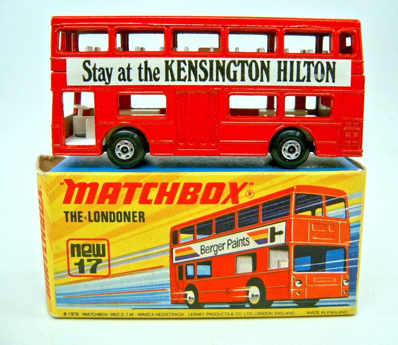 MatchBox SF Nr.17B The Londoner rot  Kensington Hilton  rares WerbeModellll + Box