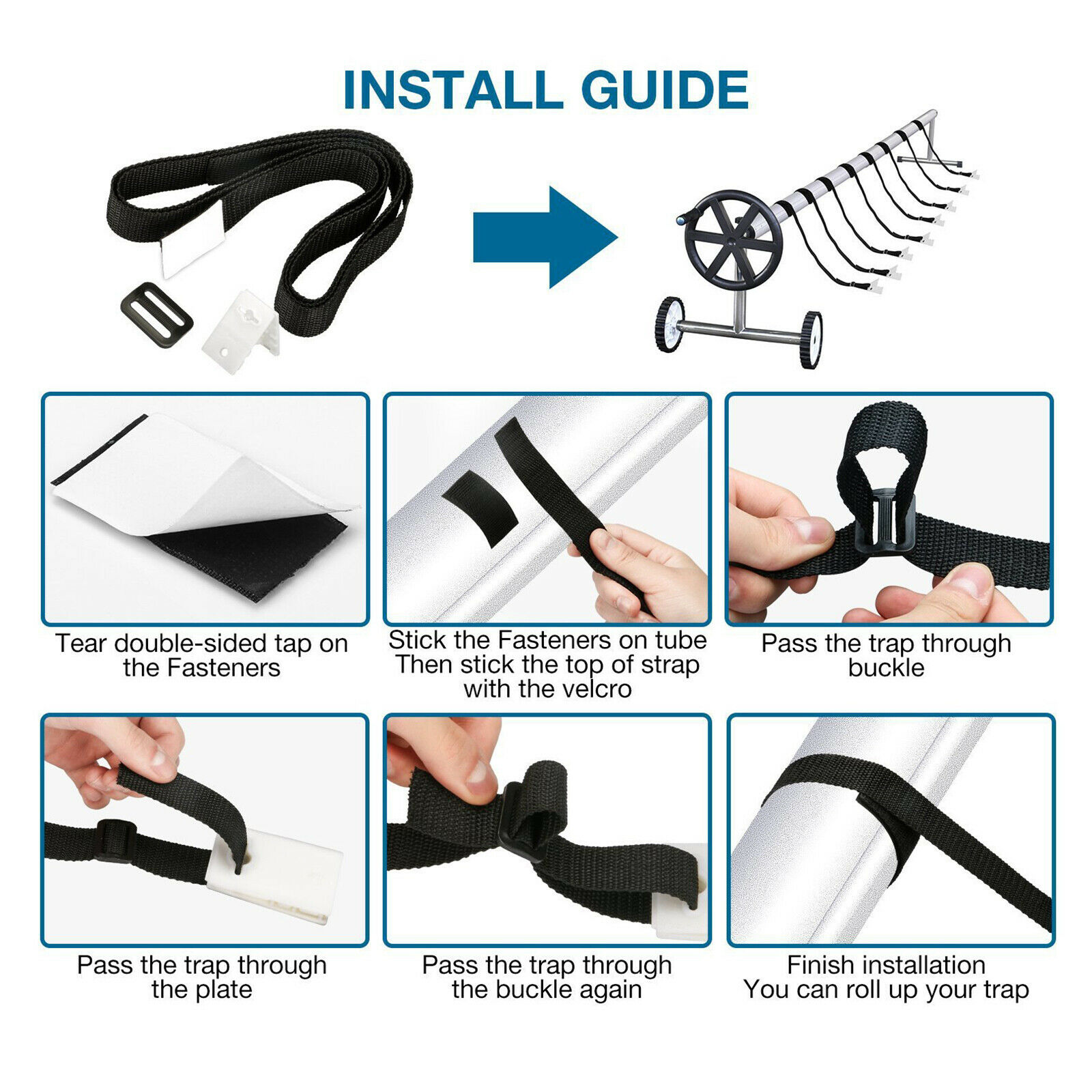 8x Replacement Pool Fixing Strap Fixing Kit Solar Covering Coil Fixing Kit for