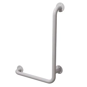 Handlauf Winkelgriff für barrierefreies Bad rechts montierbar weiß 60/40 DN32 mm