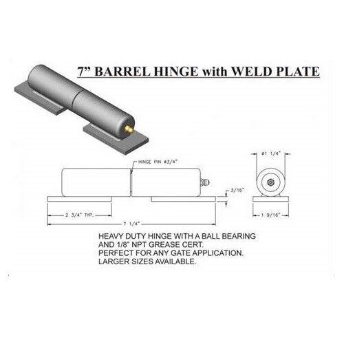 "7/"" Barrel Style 900lb Capacity EA 4x Ball Bearing. Heavy Duty Gate Hinges"