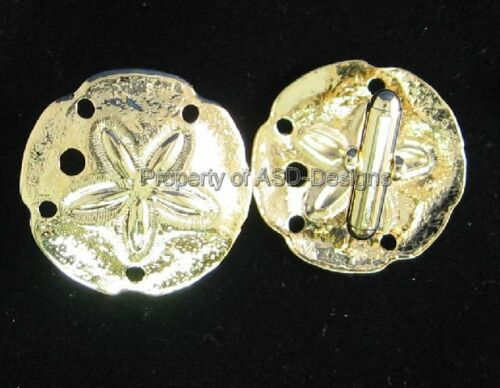 1pr Gold Plated Nautical Sanddollar Mens Cuff Links 6303