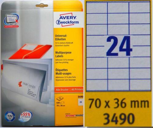 5 x TOP Avery-Zweckform 3490 Etiketten je 600 Stück 70 x 36 mm