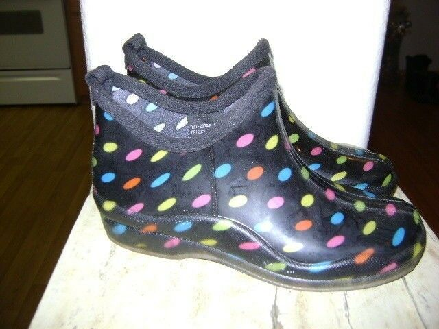 CAPELLI NY WOMEN'S  multi color Polka Dot Ankle Rain Boots shoes SIZE 7
