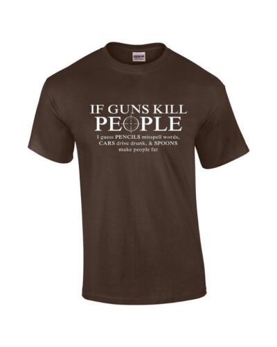 Funny If GUNS KILL PEOPLE PENCILS Misspell Word CARS Drive Drunk Pro Gun T-Shirt