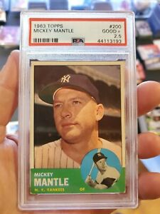 1963-Topps-Baseball-Mickey-Mantle-200-New-York-Yankees-Original-Graded-Good