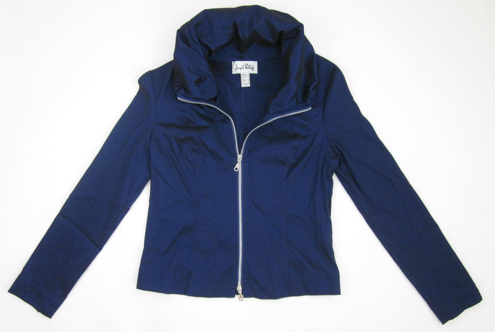 Joseph Ribkoff Portrait Collar Full Zip Dark Iridescent Blau Jacket Größe 10   12