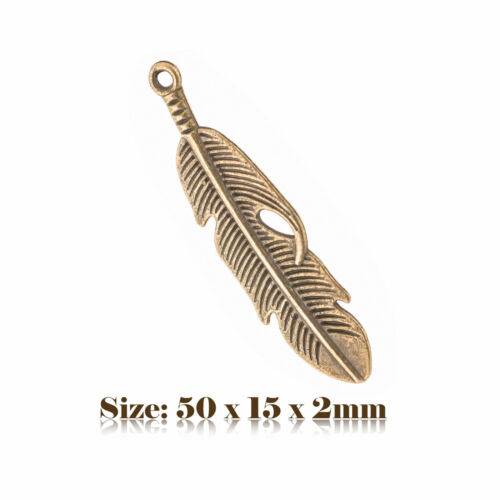 5 Bronze Antique Vintage Style Feather Charms Pendentif Steampunk 150