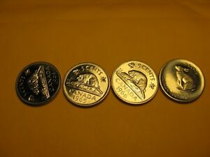 Set-Of-4-Brilliant-Uncirculated-Canada-5-Cent-Coins-1964-To-1967