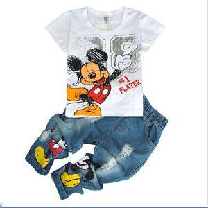 0c123929c 2PCS Kids Baby Boys Mickey Mouse Short Sleeve T-Shirt Tops + Jeans ...