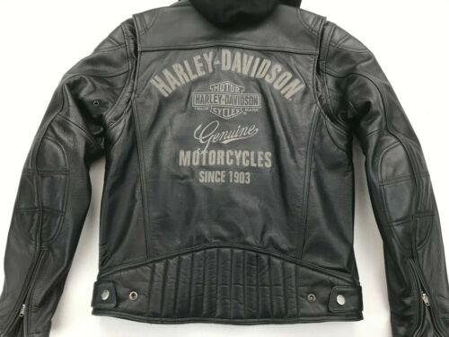 HARLEY DAVIDSON MENS GENUINE HD 3 IN 1 LEATHER HOODED JACKET SMALL 98006-11VM