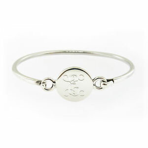 Image Is Loading Monogrammed 925 Sterling Silver Hinged Baby Bracelet Personalized