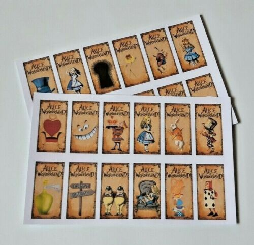 24,48,72 UNCUT EDIBLE WAFER CUP CAKE ALICE IN WONDERLAND TOPPERS RECTANGLE