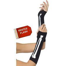 paire gants Mitaines Squelette noir dessin squelette DEGUISEMENT HALLOWEEN LG $$