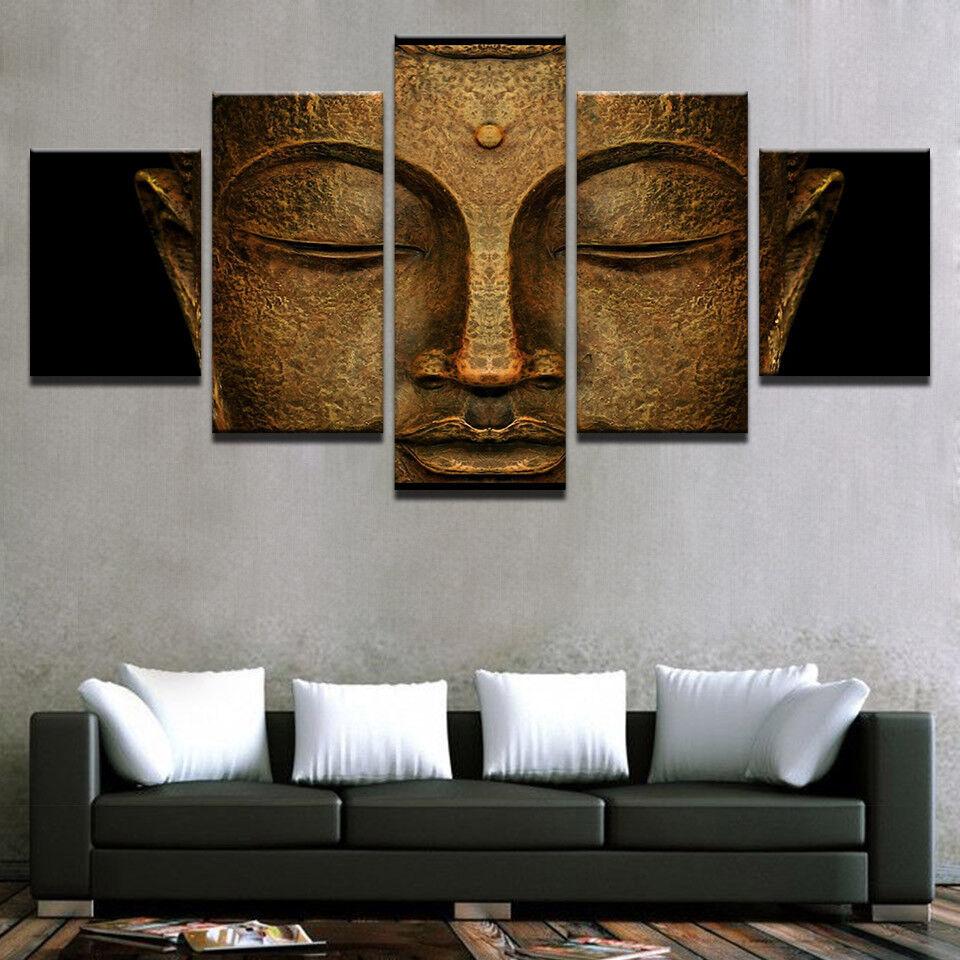 Buddha Meditation Painting 5 Piece Canvas Print Wall Art Poster